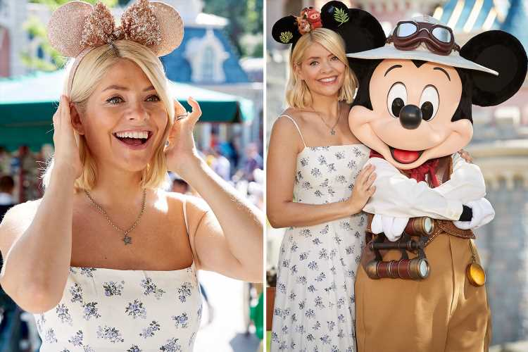 Holly Willoughby wears Minnie Mouse ears as she fangirls at Disneyland Paris alongside Coronation Street's Helen Flanagan and Lucy Fallon