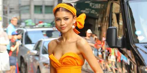 Zendaya Stuns In Hot Orange Dress While Promoting 'Spider-Man: Far From Home' in NYC
