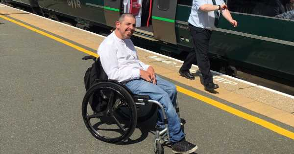 Disabled dad stranded at station where wheelchair users can arrive but not leave