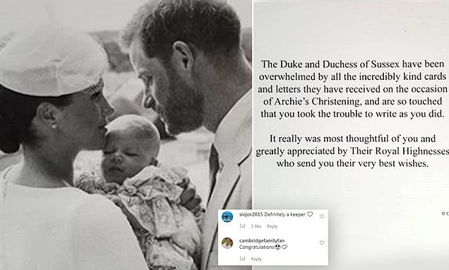Duke and Duchess of Sussex thank fans for Archie's well-wishes