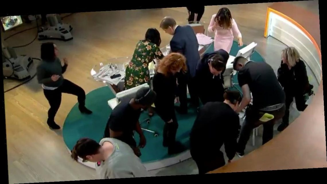 GMB in chaos as crew are left frantically crawling on the floor in break
