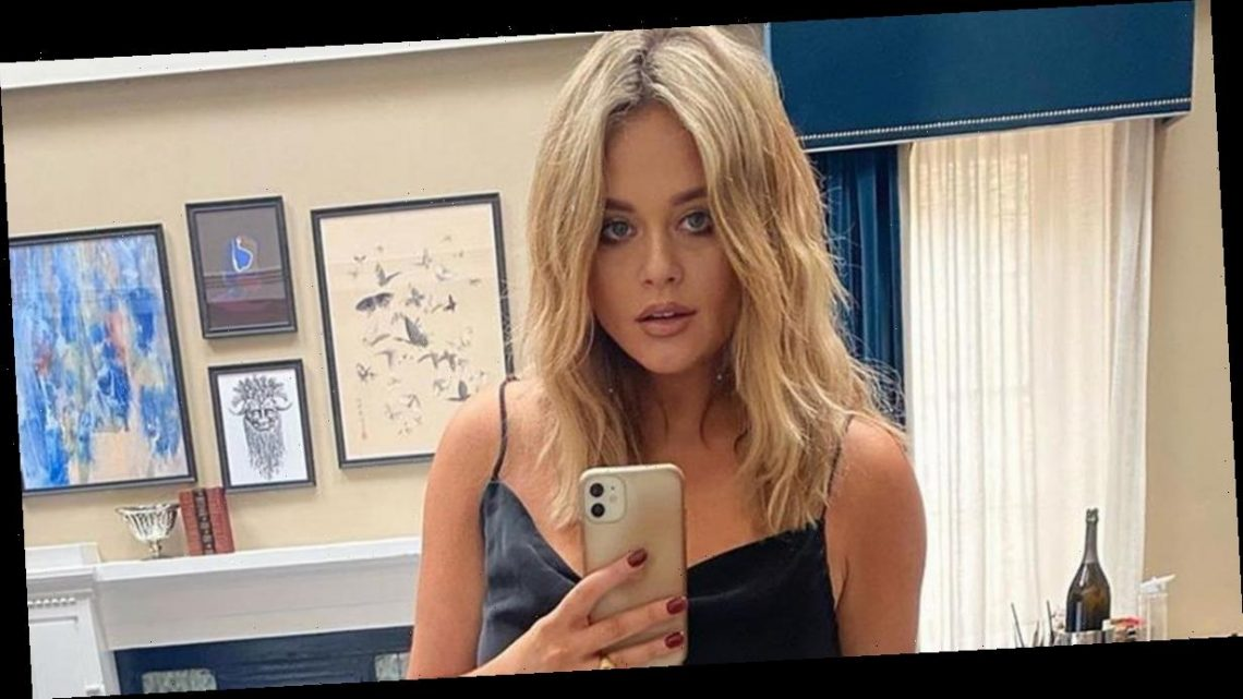 Emily Atack ditches bra and dons plunging black top after being caught off guard