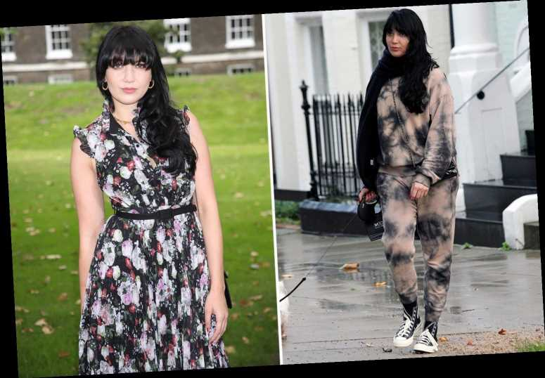 Daisy Lowe looks to dye for as she pops out in pink and black tracksuit