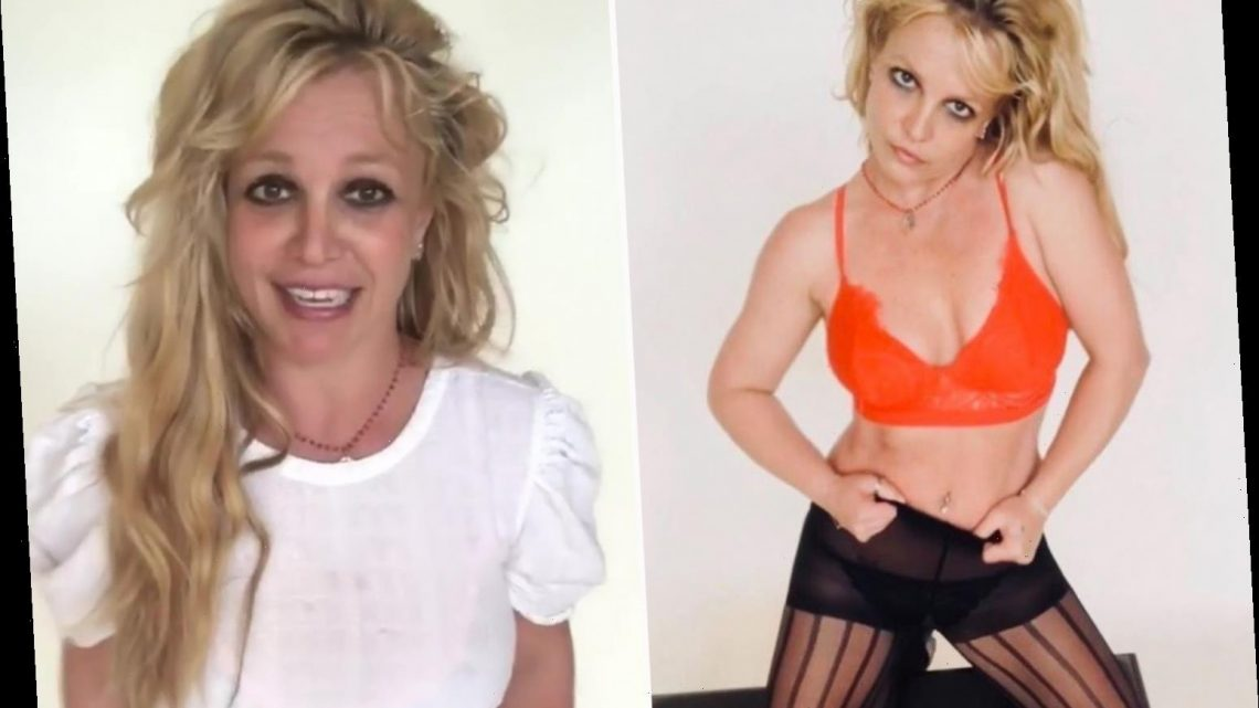 Britney Spears poses in lace bra and tights after claiming summer has been 'so much fun' despite legal battles with dad