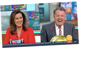 Piers Morgan shouts 'easy tiger' at Susanna Reid as she makes sex joke about his 'lockdown helmet'