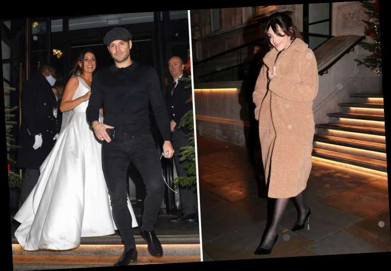 Michelle Keegan seen with a fringe as she and Mark Wright accidentally crash a wedding on night out in London