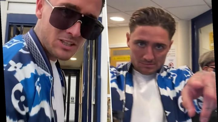 Stephen Bear even refuses to wear a mask when he's at the POLICE station after breaking quarantine rules