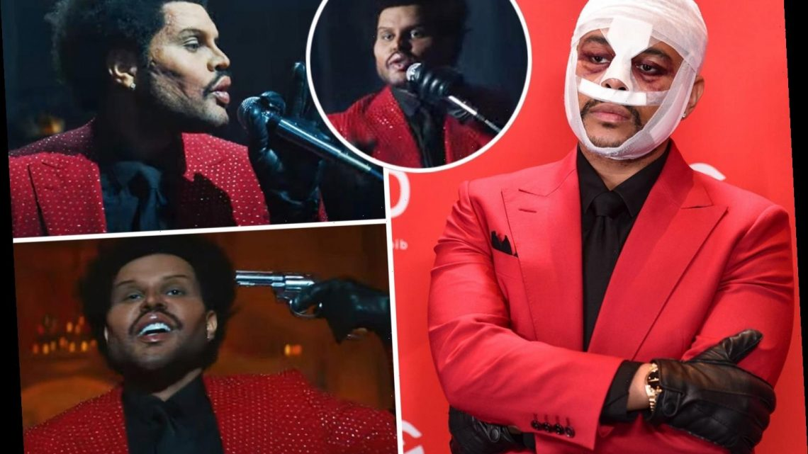 The Weeknd shows off freaky face from 'plastic surgery' in new music video after wearing bizarre bandages at awards show