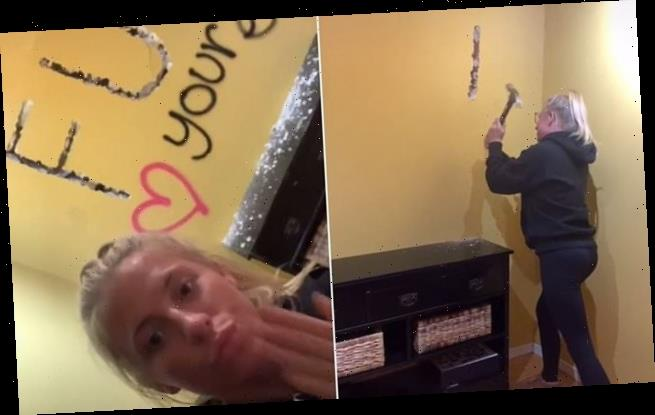 Woman gets revenge on 'cheating ex' by hammering 'FU' into his wall