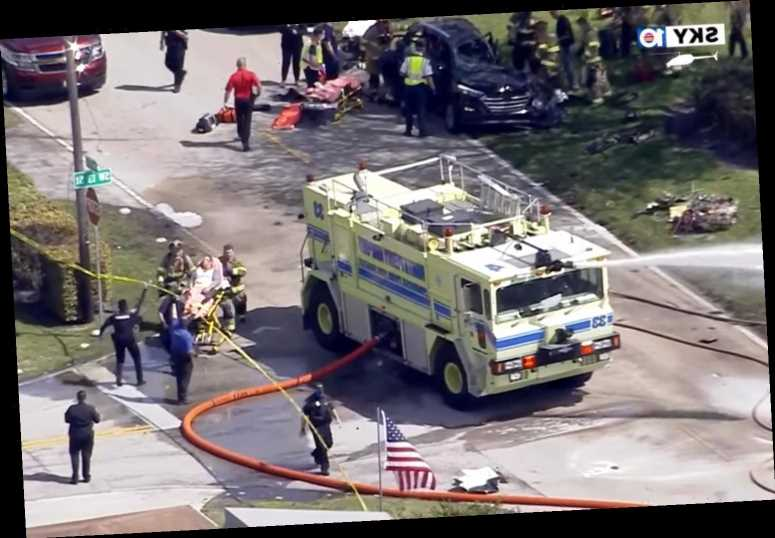 2 People Die After Small Plane Crashes into Car and Bursts into Flames in South Fla. Neighborhood