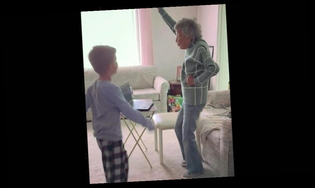 102-year-old joins 6-year-old great-grandson for virtual gym class for school
