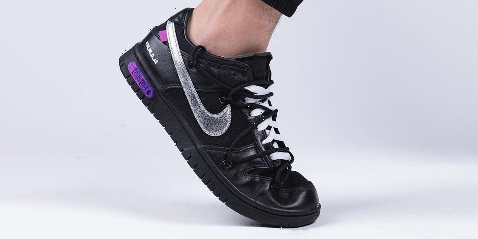 """Detailed Look at the Off-White™ x Nike Dunk Low """"The 50"""" In Black/Silver"""