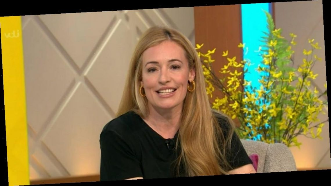 Cat Deeley dazzles viewers in gold trousers as she continues to impress with style as she hosts Lorraine