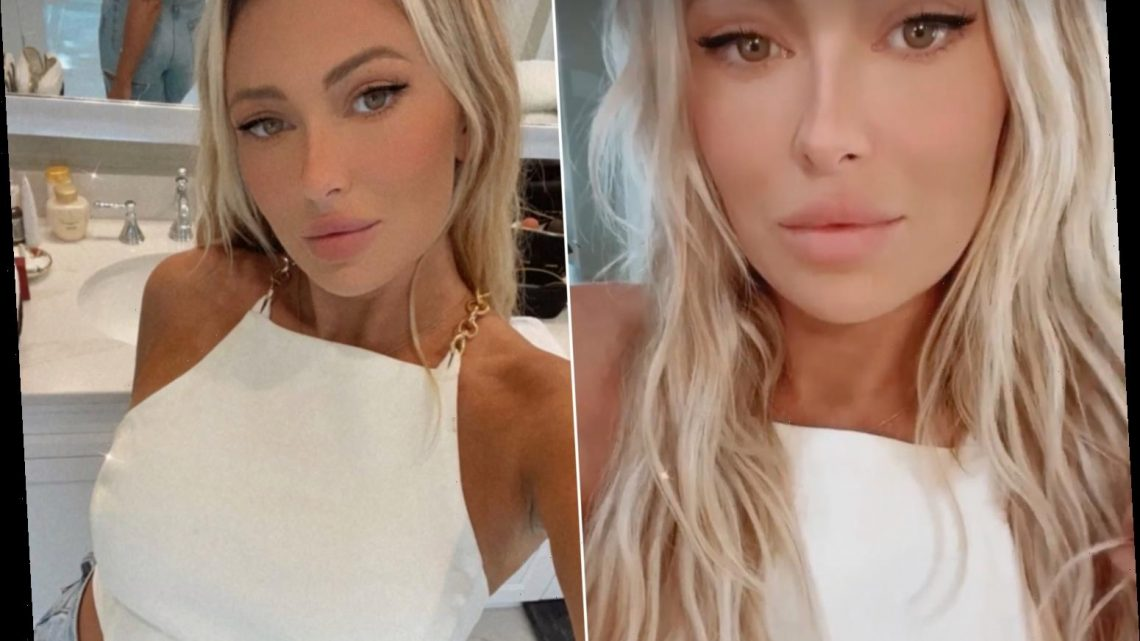 Paulina Gretzky models open-back chain top ahead of 2021 Masters