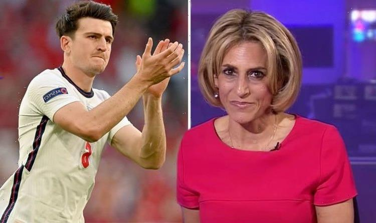 Emily Maitlis' son 'lifted up' by drunk England fans as he's mistaken for Harry Maguire