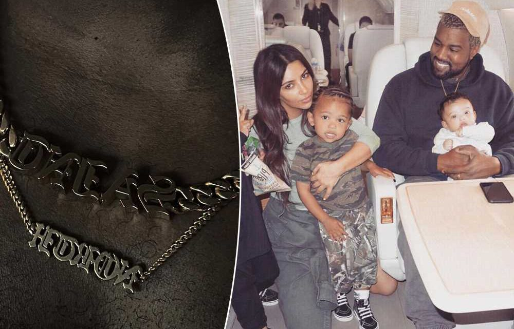Kanye West returns to Instagram wearing necklaces with his kids names