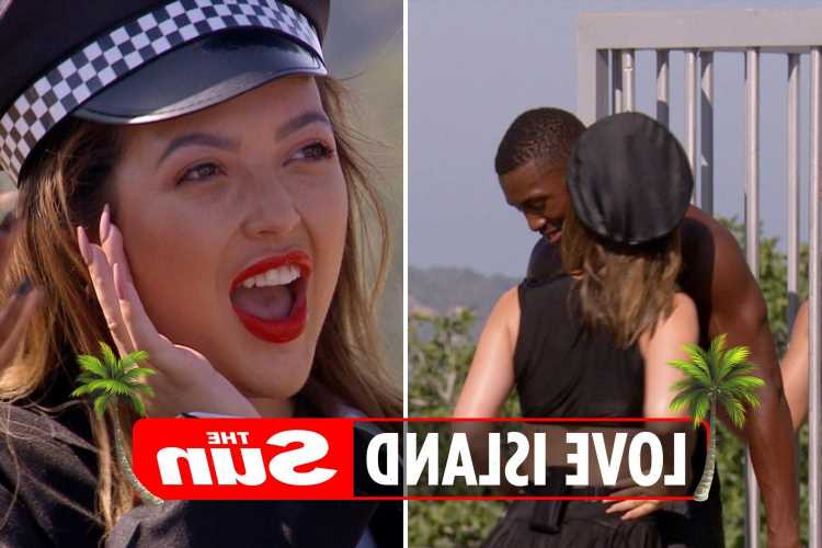 Love Island girls dress up as sexy cops for 'love jail' task – and Sharon savagely rejects Aaron's kiss