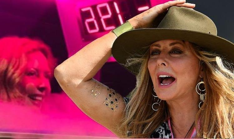 Carol Vorderman strips down to bikini and furry boots in freezing cold for cryotherapy
