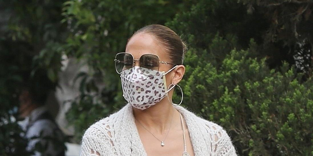 Jennifer Lopez Wore an Unexpected $4,000 Fall Cardigan Style With Confusing Sneakers