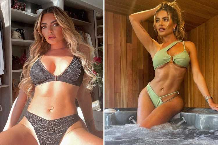 Megan Barton Hanson shows off her new hot tub at 'dream home' as she strips off into a green bikini for a dip