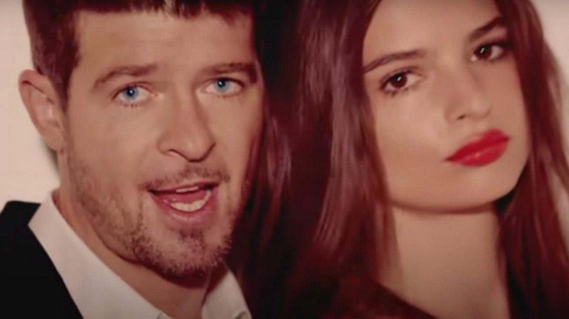 Robin Thicke Accused of Fondling Emily Ratajkowskis Breasts on Set of Blurred Lines Video